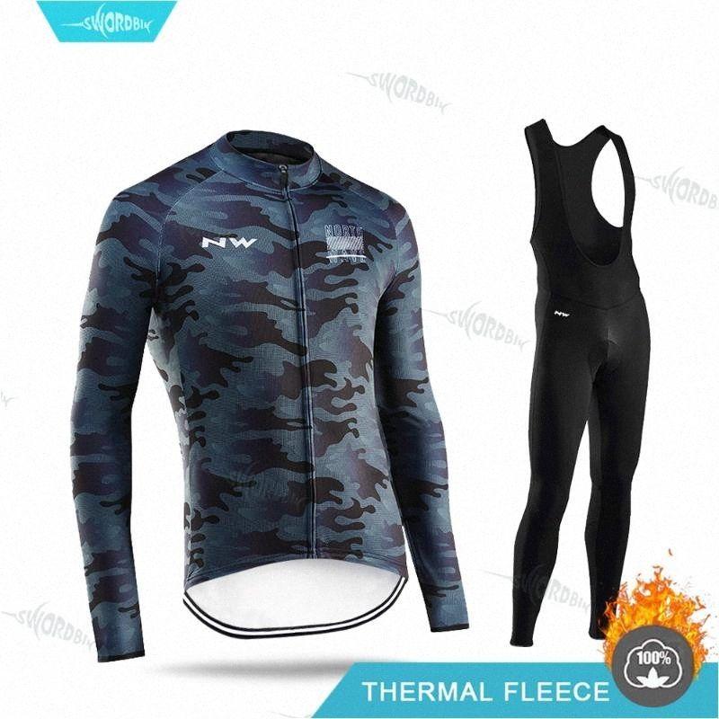 NW 2020 MTB Kış Bisiklet Giyim Uzun Kollu Jersey Seti Termal Polar Giyim Binme Giyim Kiti Ropa ciclismo 4q1p #