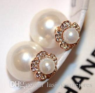 Super glittering ins fashion designer double sided lovely cute flower crystals diamonds pearl stud earrings for woman girls