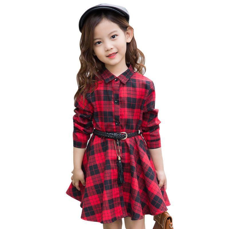 Vestido elegante de la camisa de manga larga casual de la camisa de manga larga con el cinturón vestido de la blusa adolescente 4 5 6 7 8 9 10 11 12 13 años de edad