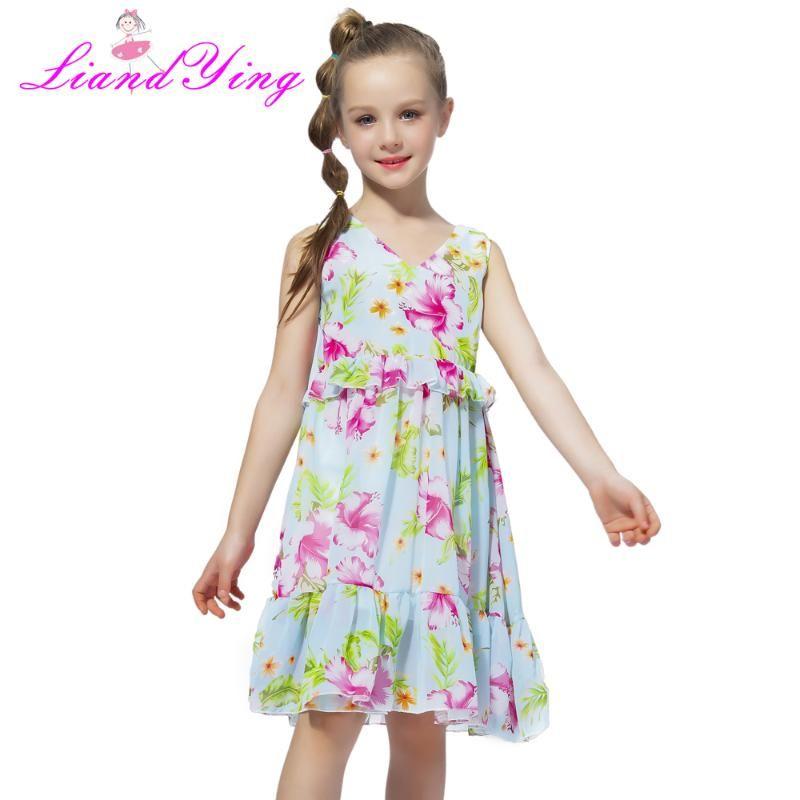 Big Girls Dress Età Foglie 10 12 anni Estate in chiffon con scollo a V per la bambina di formato 6 7 8 9 Ragazze adolescenti Abbigliamento