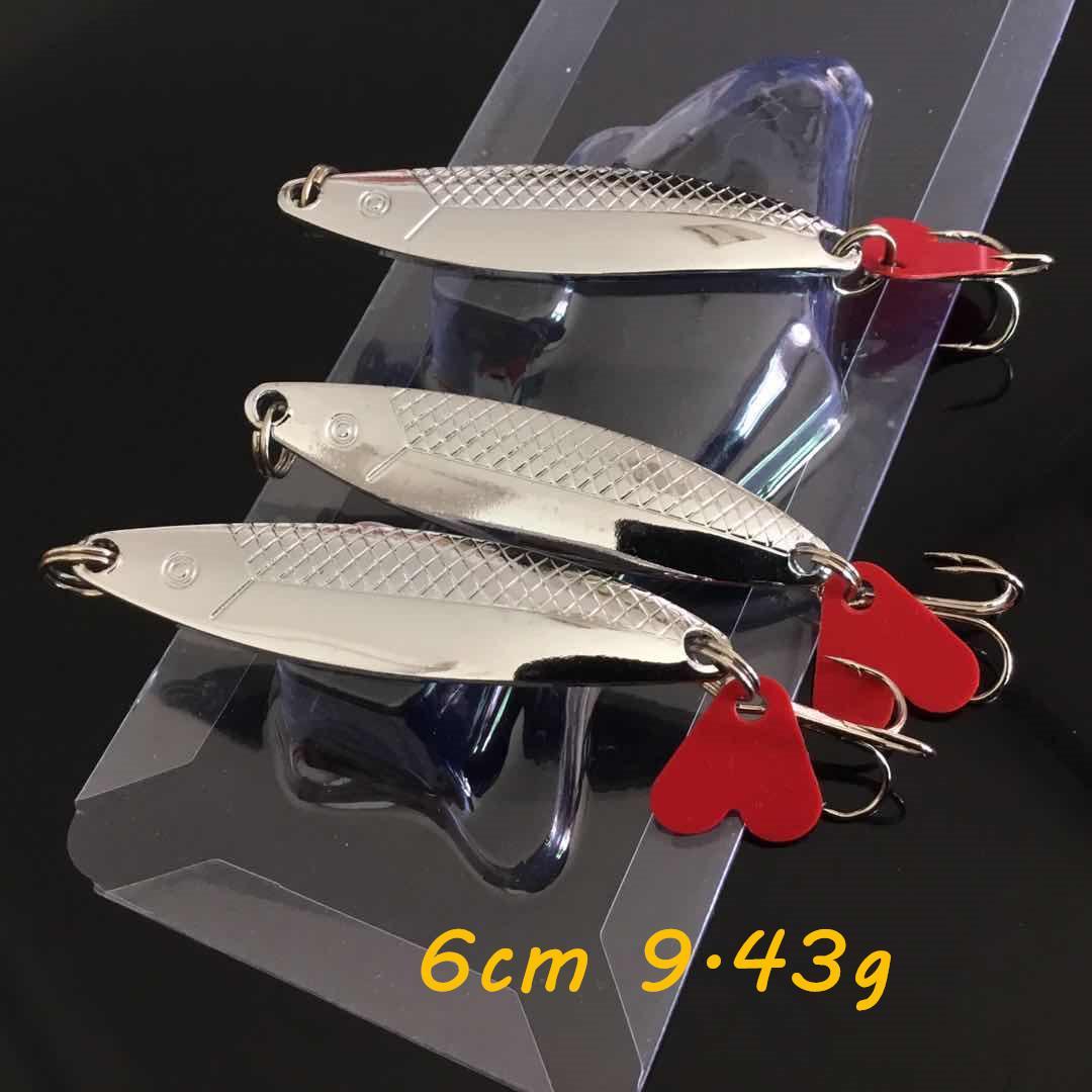 10pcs/lot VIB Spoons Metal Baits & Lures Silver 60mm 9.43g 6# Fishing Hooks WA_48