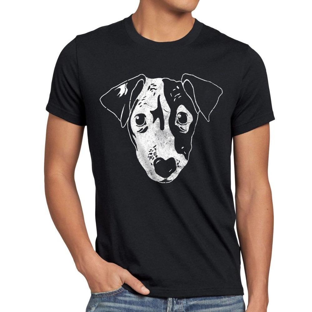 Vente chaude Nouveau Vêtements pour hommes T-shirt de chien T-shirt Hund Haustier Tier Jack Russel Terrier Hundegesicht Gesicht Kopf Neu drôle O Neck T-shirt