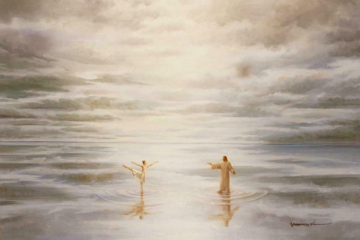 Yongsung Kim Jesus Ballerina Ballet Dancer on Water Home Decor Handpainted &HD Print Oil Paintings On Canvas Wall Art Pictures A159