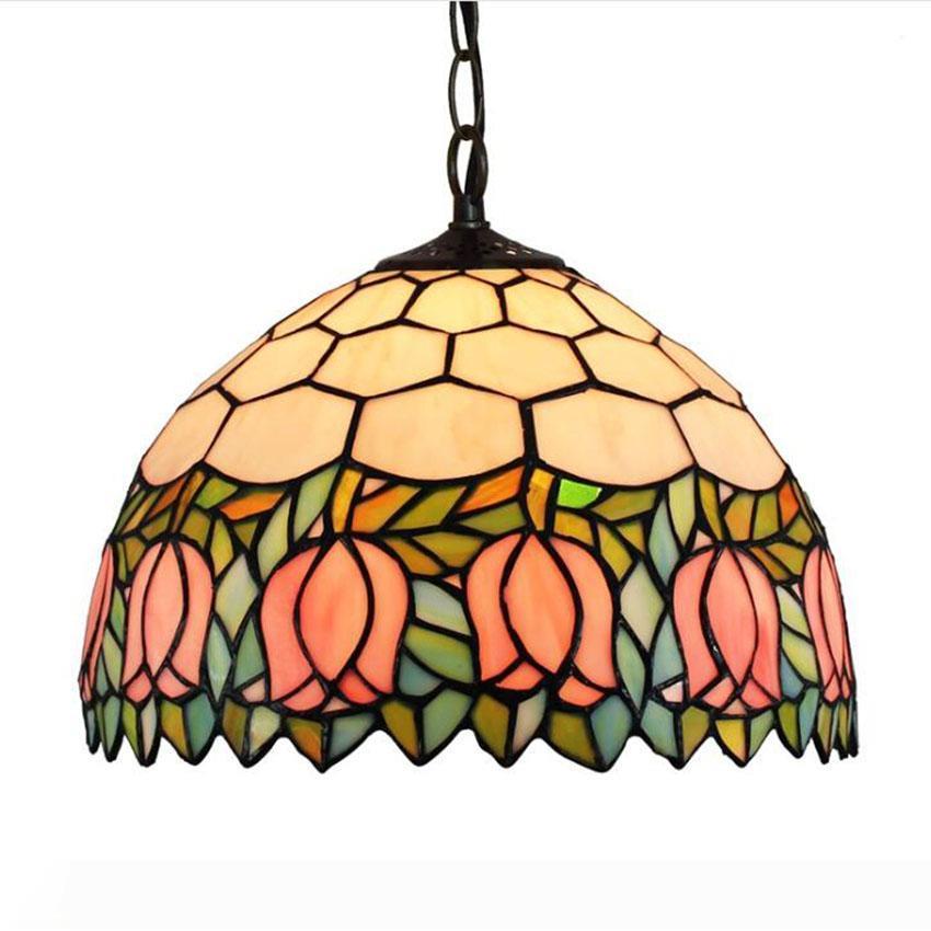 Tiffany luminária Fixação vitoriana vitral de suspensão Luz para Quarto Sala Cafe Candelabro retro Europeia
