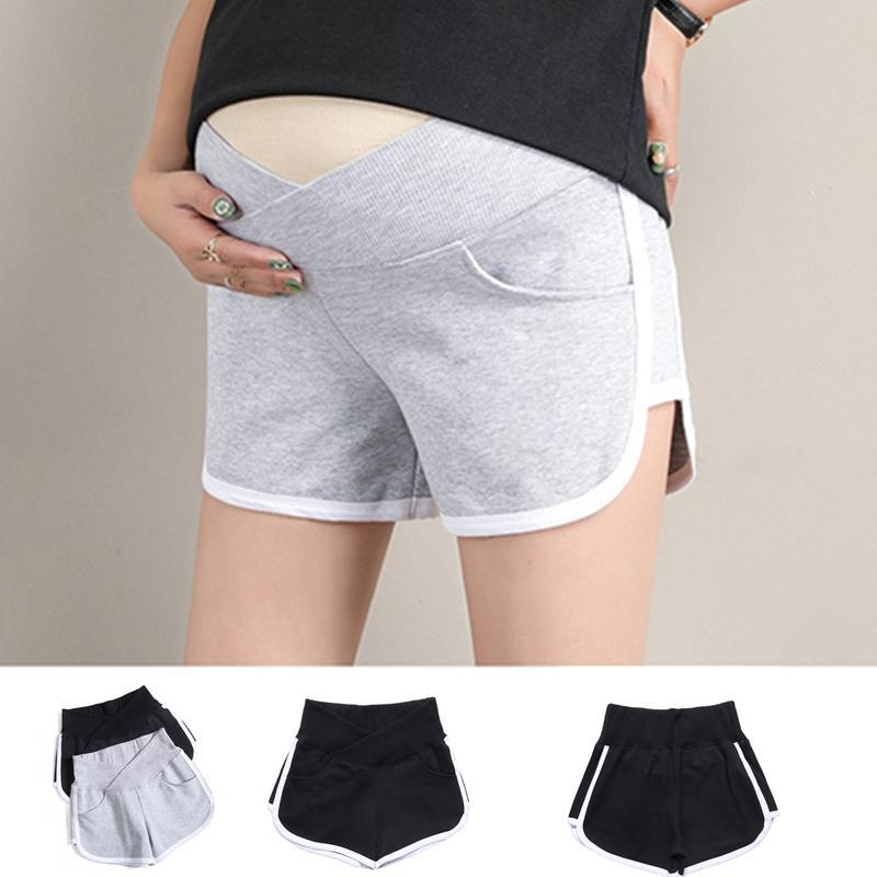 여름 여성 출산 짧은 바지 임신 반바지 임신 로우 웨이스트 레저 스포츠 플러스 크기 Pantalon 바지 여성 의류