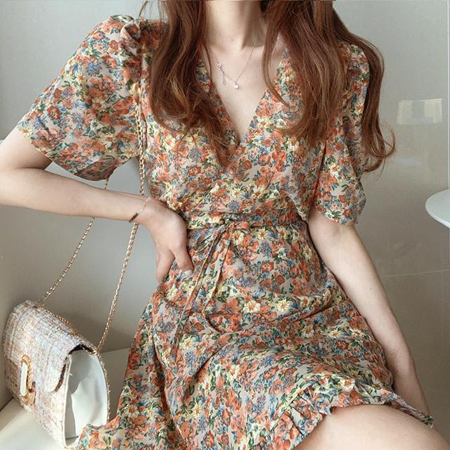 S-XL 2020 Tamaño más nuevo partido BOHO del verano de las muchachas de la vendimia Mujer vestido de gasa de la impresión de la manga corta de las mujeres vestidos de traje del Vestido