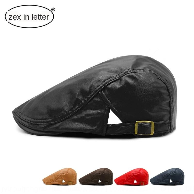 cMOow printemps automne et l'hiver style coréen pour hommes simples PU cuir Béret Béret cap préfigurait protection solaire Chapeau Chapeau de soleil de pointe en plein air