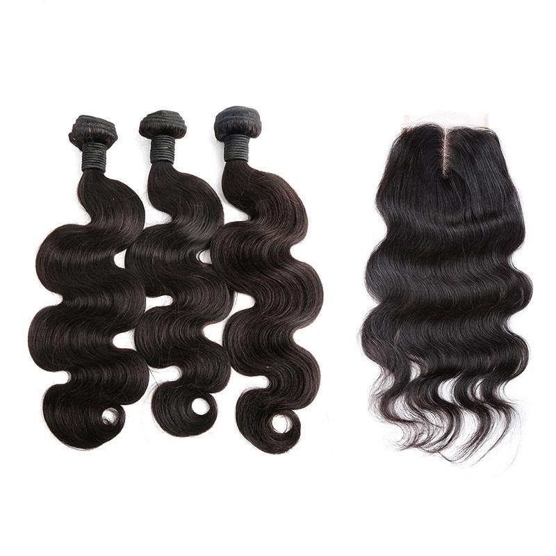 Volledige hoofdweefsels Bundels met sluiting 4x4 Body Wave Braziliaanse Virgin Hair Extensions Inslag met Kantsluiting Middendeel Bella Haar