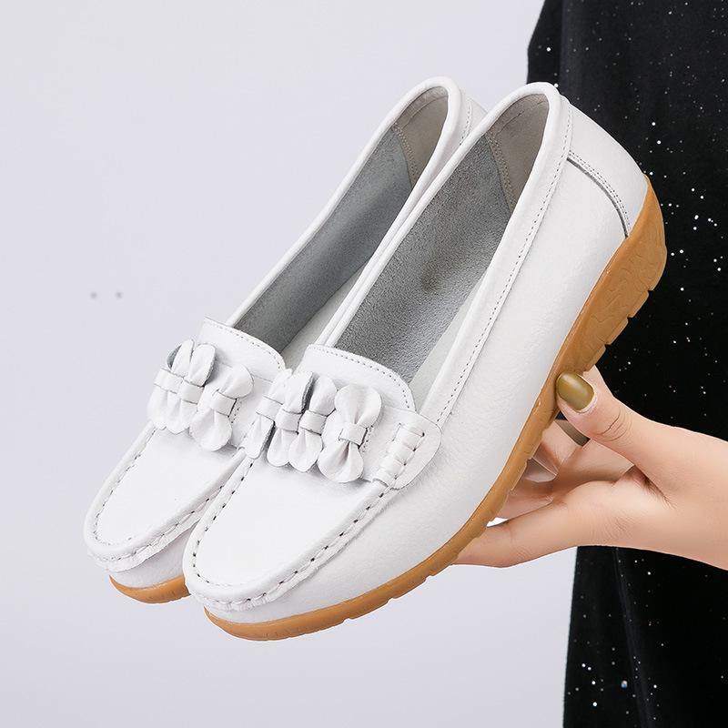 Shoes Woman Genuine Leather Women Flats Slip On Womens Loafers Female Moccasins Shoe Plus Si White