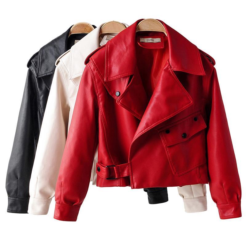 Zipper cappotto del rivestimento Ecopelle Pu Motociclista cappotto gira giù molle del Faux punk delle signore della tuta sportiva allentata Streetwear