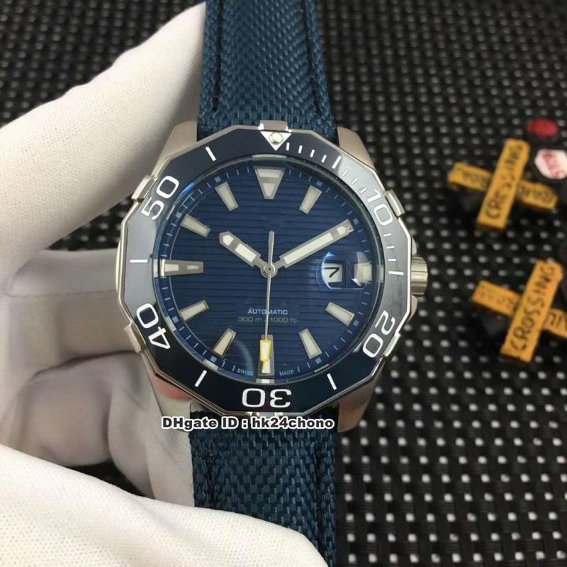 6 Estilo Melhor 43 milímetros de aço inoxidável Gaivota Mens Automatic Assista WAY201B Ceramic Bezel Azul Dial cinta de couro Gents relógios desportivos
