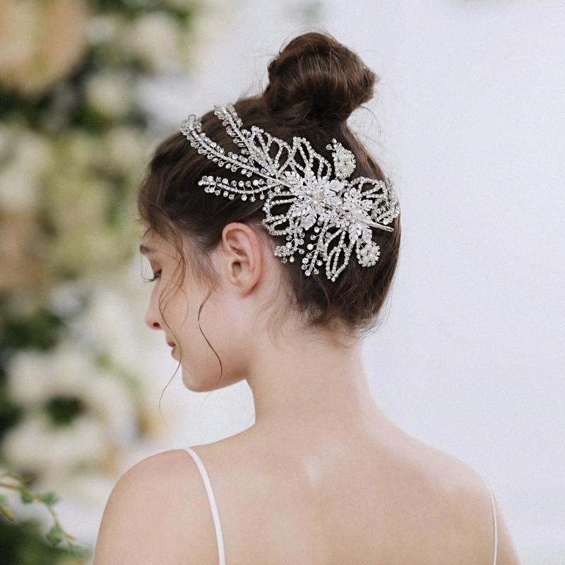 TRiXY H254 Rhinestone Wedding Headpiece Hair Clips Vine Rhinestone Floral Bride Hair Accessories Bridal Jewelry 5d6t#