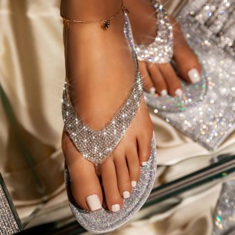 حجر الراين زحافات الأحذية النسائية ذات الكعب المسطح الكريستال الماس بلينغ النعال السيدات الصيف خارج عارضة شاطئ الشرائح النعال