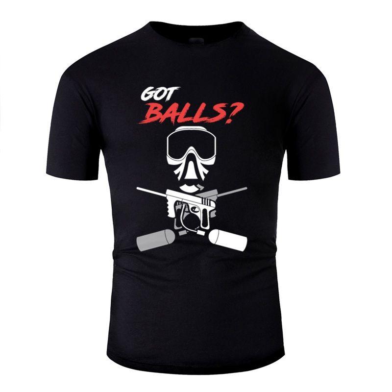 Neueste Lustige Got Balls Paintball-Hemd-Geschenk-Idee Gotcha T-Shirt für Herren aus 100% Baumwolle Coole Männer-T-Shirts Grau Hip Hop