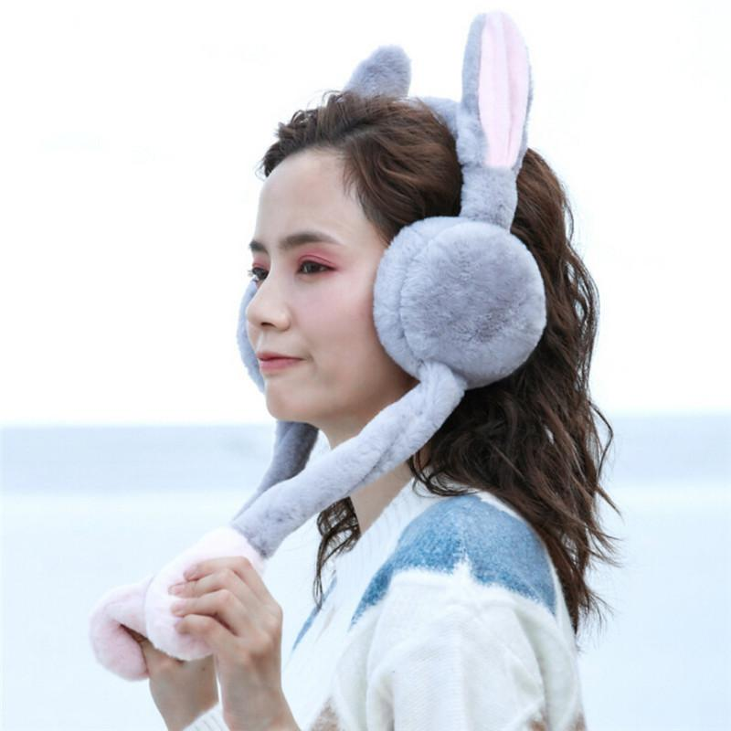 Recommend Fluffy Winter Warm Earmuff Solid Color Earmuffs Headphones Girls Faux Ear Design Ear Protection Earmuff