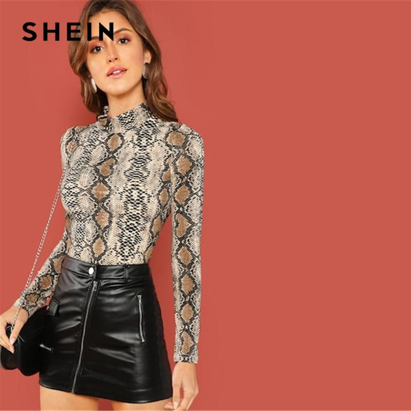 SHEIN Night Out Multicolor Mock Neck Grid Fitted Stand Collar Long Sleeve T-shirt Autumn Office Lady Casual Women Tshirt Top MX200721