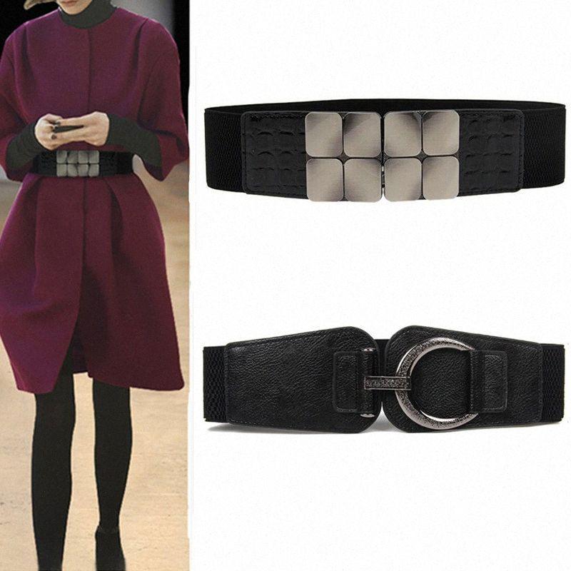 Women Waistbands Fashion Stretch Cummerbunds Black Metal Buckle Alloy Waist Belts Wide Elastic Cinch Corset Waistband For Dress Money GYI6#