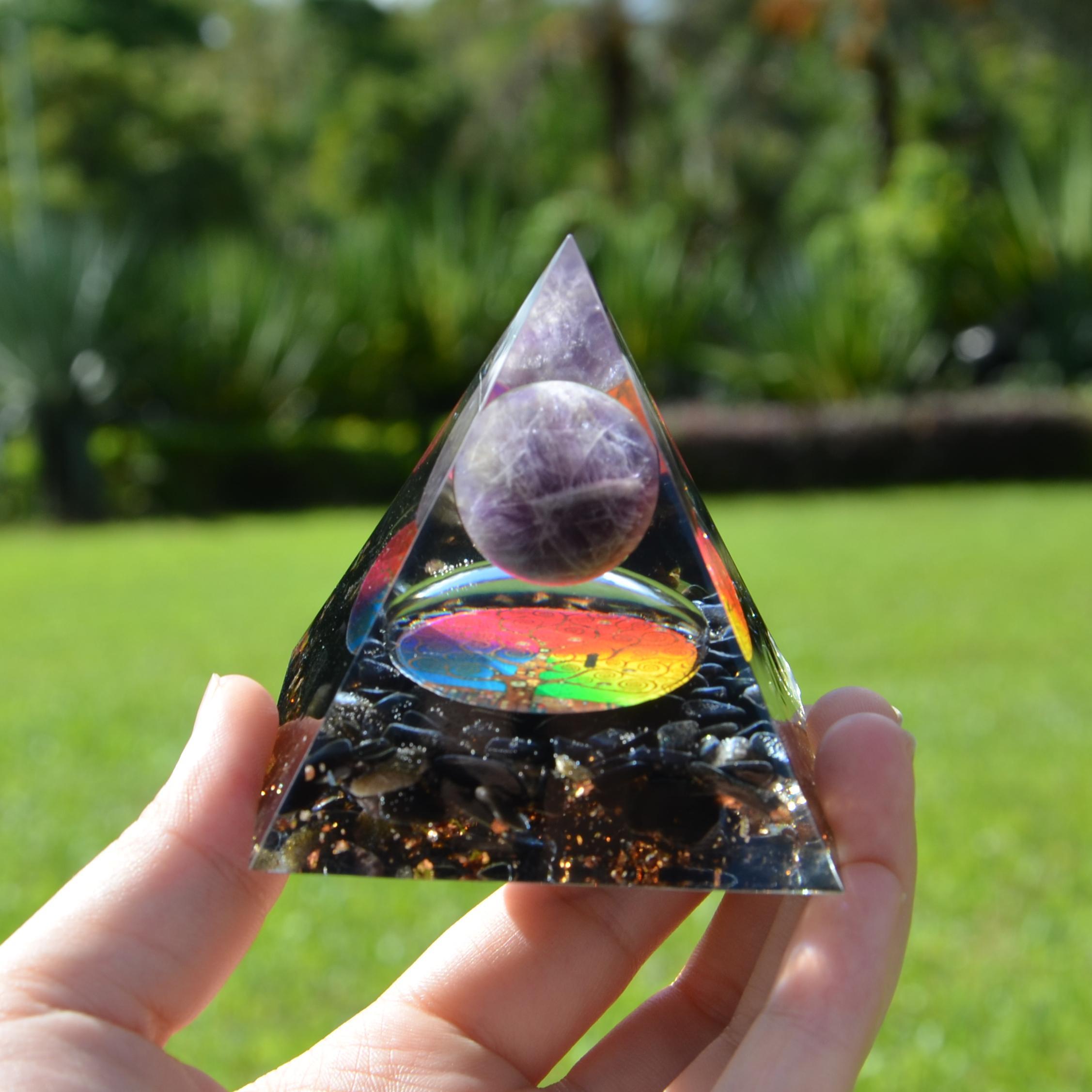 Árbol colorido de la magia de la vida amatista Esfera Con Obsidiana pirámide de cristal, curativo de la meditación Chakra herramienta Orgón Pirámide