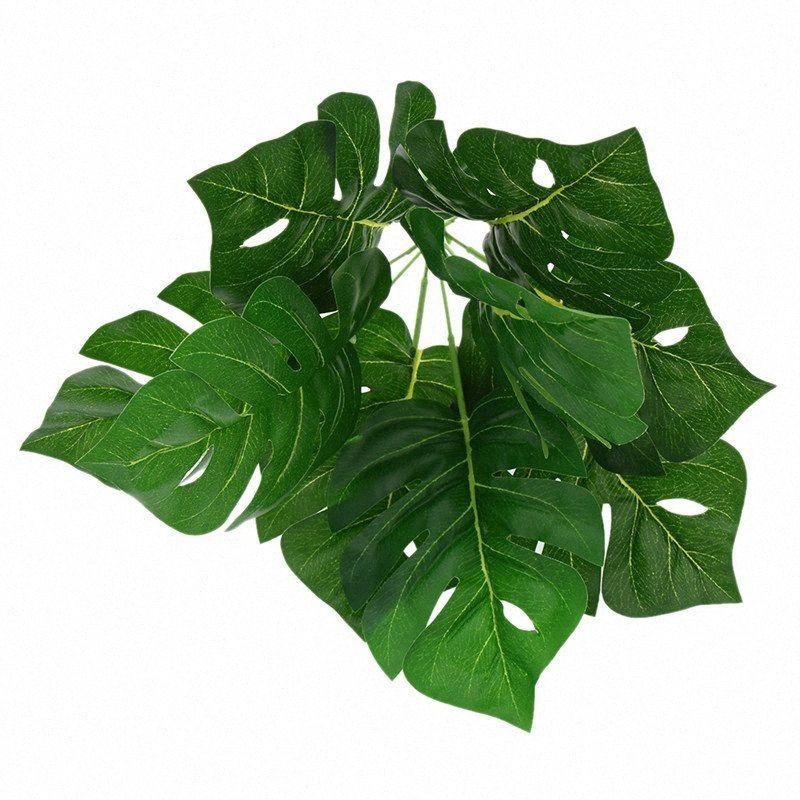 Material artificial de la tortuga de la hoja de PVC rama moderna de la celebración de Plantas decorativo de la boda envío de la gota hfq0 #
