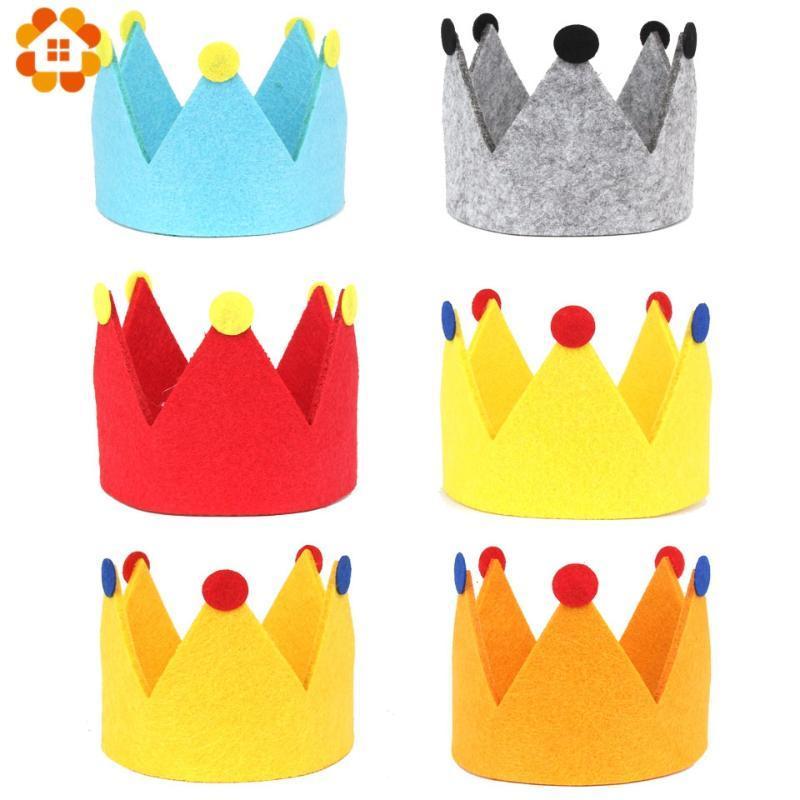1PC DIY Kız Bebek Boy doğum günü partisi Dokumasız Şapka Çocuklar Doğum Prenses Taç Cap Parti Süsleri Çocuk Headband Favors