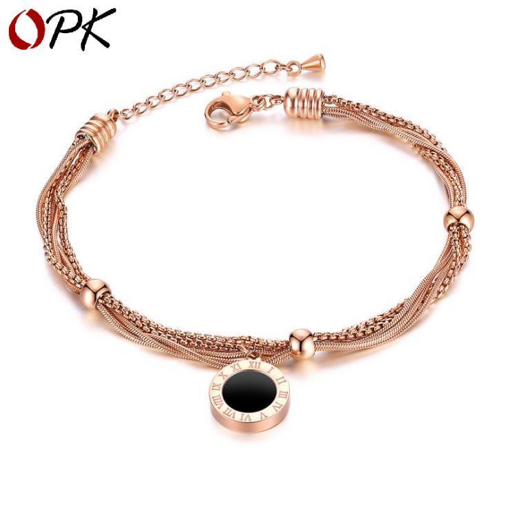 multistrato geometrica torta rotonda in acciaio bracciale in titanio nero oro rosa placcato numero Bracciale romana rotonda