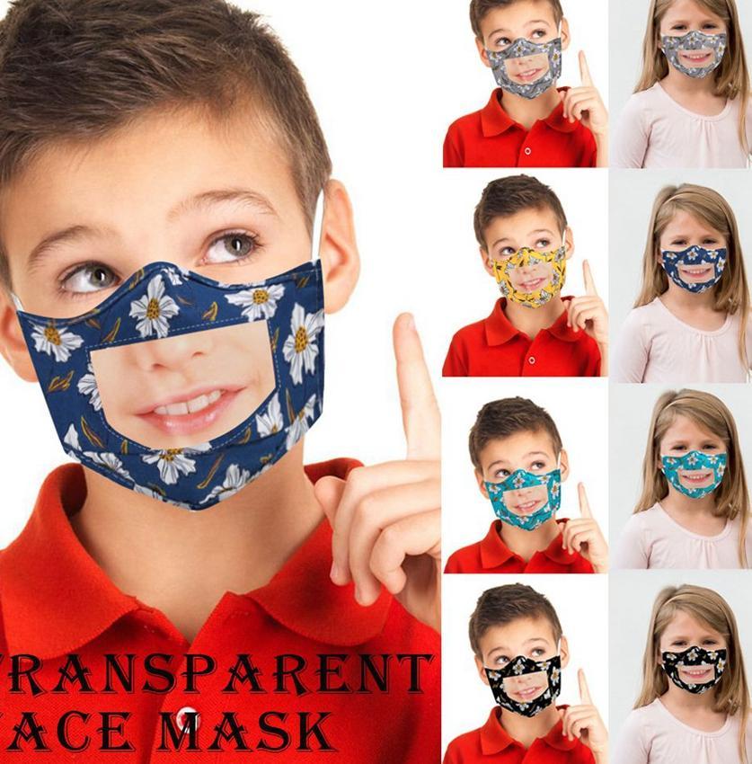 enfants masque facial avec Transparent fenêtre transparente visible lecture labiale enfants Masque visage masques de fleurs animaux LJJK2390