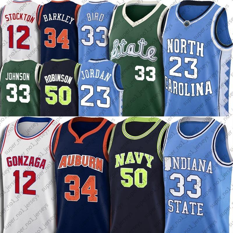 NCAA مايكل جيرسي أيرفين لاري جونسون بيرد الفانيلة ديفيد تشارلز روبنسون قميص باركلي جون غاري ستوكتون بايتون كرة السلة جيرسي 7-30