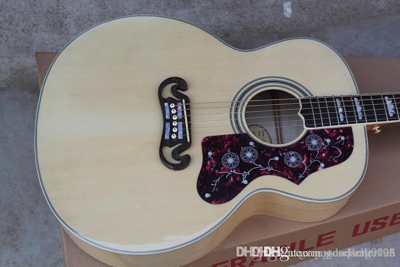 Benutzerdefinierte Shop Heißer Verkauf Dot Fichte Beige S-J-2-0-0 6 Saiten Akustikgitarre