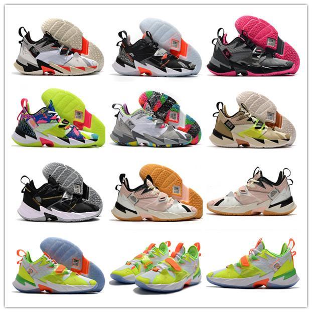 2020 Polvere nera Russell Westbrook 3 Elite Perché non Zer0.3 Thunder Men Weishao Scarpe da basket Pistola ad acqua Black Brown Green Sports Sneakers
