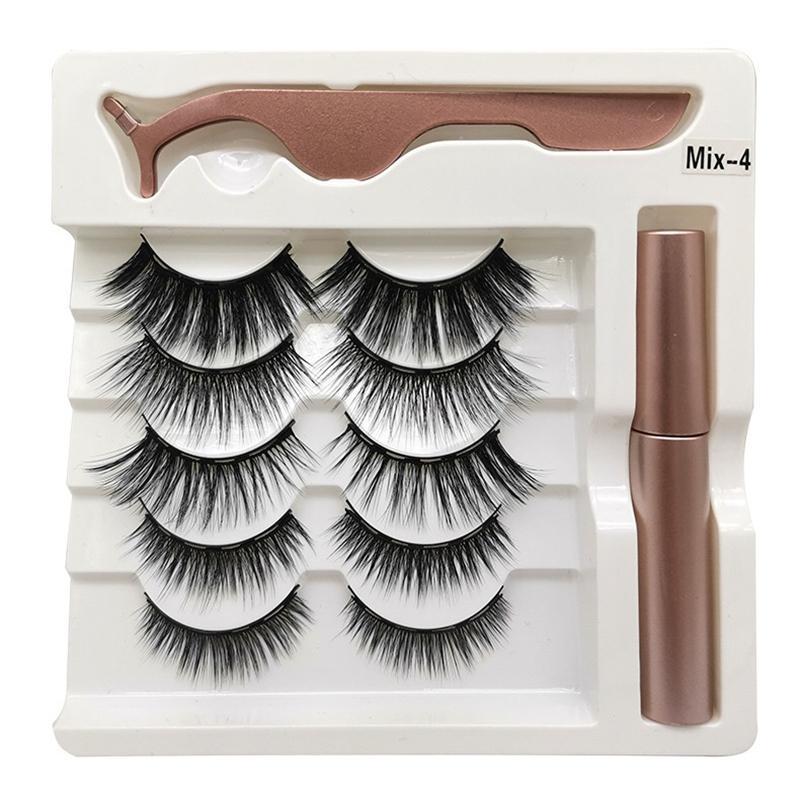 A+++ Magnetic Liquid Eyeliner & Magnetic False Eyelashes & Tweezer Set 5 Magnet False Eyelashes Set Glue Make Up Tools 5 Pairs eyelash set