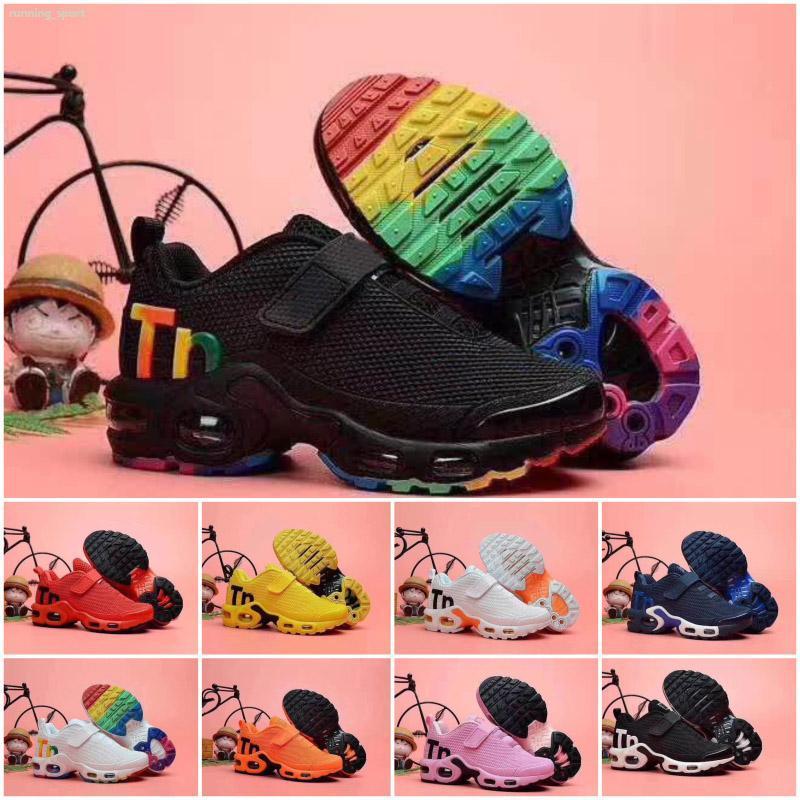 Tasarımcı yürümeye başlayan çocuklar Mercurial TN Nefes Artı Gökkuşağı Mesh tn Sneakers çocuk spor ayakkabıları eğitmenler Koşu