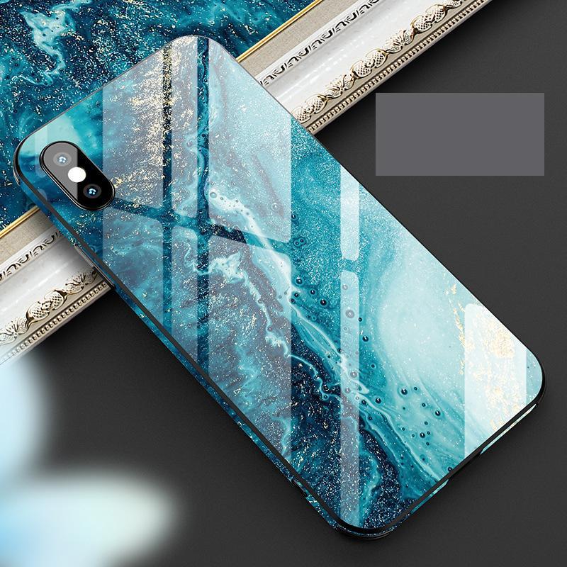 Colorido mármol del marco del caso de IPhone de vidrio templado para 11Promax 11Pro 11 X / XS / 7plus 8plus 7/8 6/6 / 6s Plus 6s