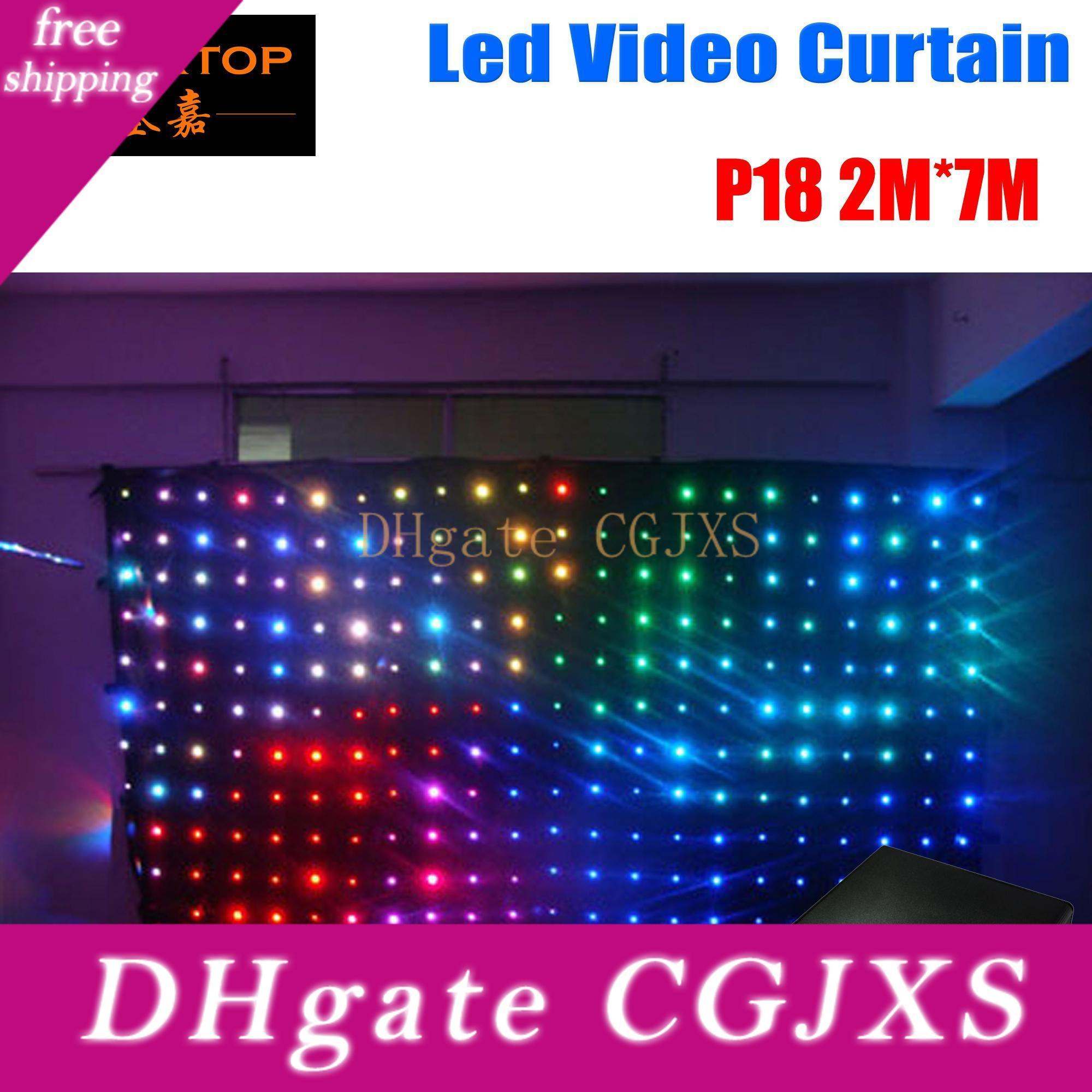 P18 2m *7m Fire Proof Led Video Curtain With On /Off Line Controller For Dj Wedding Backdrops 90v -240v Tricolor Light Curtain