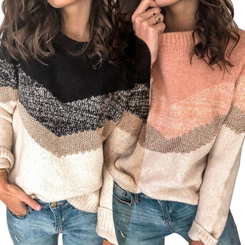 Le donne Plus Size maniche lunghe maglione di colore Ondulato a righe pullover girocollo Tops Rib Trim lavorato a maglia allentato Jumper S-3XL