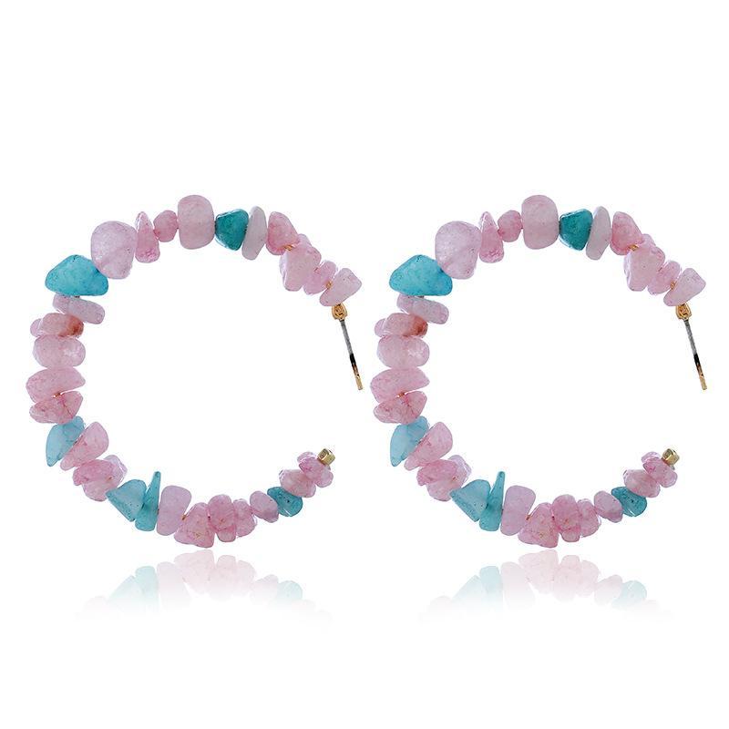 bella perla Ghiaia modo degli orecchini corallo rosso della pietra grande rotonda orecchini di goccia per le donne Bohemian Geometria Dichiarazione Orecchini ps1084
