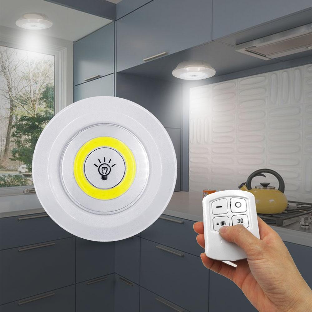 Yeni 5W LED Dolap Işık Ayarlanabilir Uzaktan Kumanda Düğmesi Vitrin Lambası İçin Merdiven Mutfak Banyo Dolap Gece Işığı