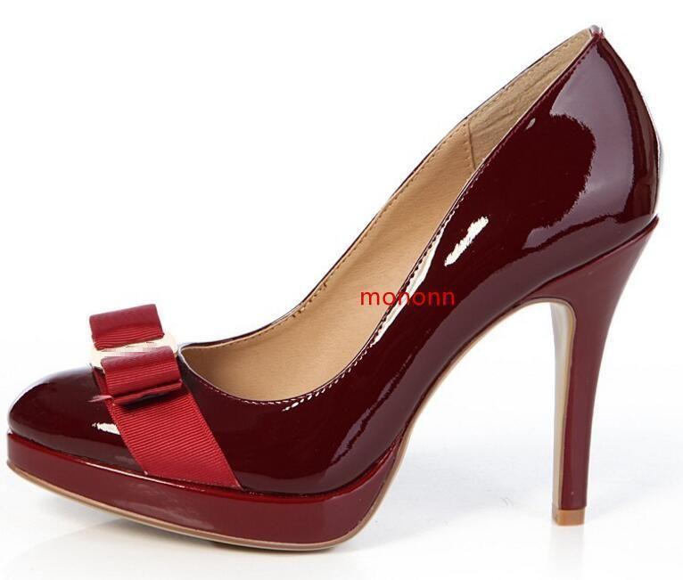 Satin bowtie hohe Absätze verfolgte Hoch Schuhe echte Lackleder Frau Schmetterling 10cm Knoten 35-41