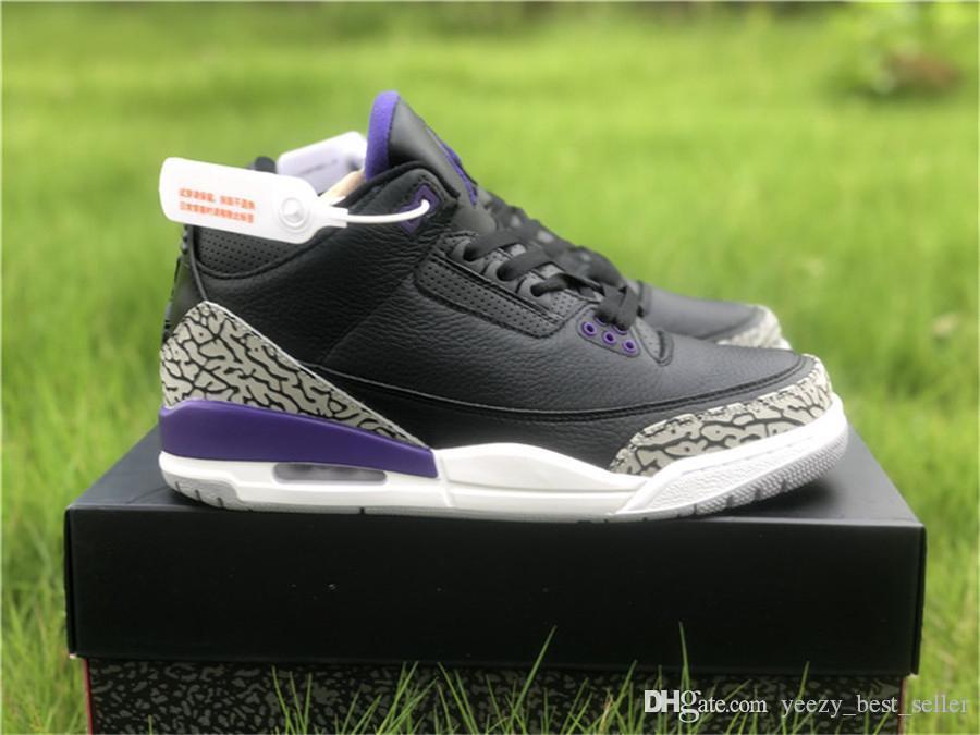 3 Corte auténtica púrpura CT8532-050 3s 2020 New Release NakeskinJordánRetro para hombre de baloncesto zapatillas de deporte de los deportes con la caja