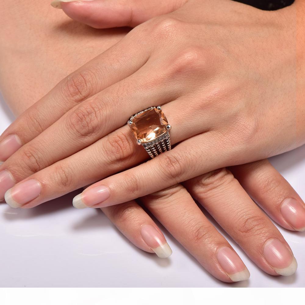K enorme Morganita con Multi cristal blanco circón Anillo de plata 925 para mujeres y hombres del tamaño 6 7 8 9 10 11 F1512