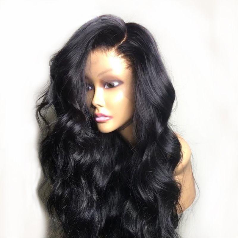 Parrucca nera Glueless Wave del corpo Pre pizzico piena del merletto dei capelli umani parrucche con capelli del bambino naturale di Remy del brasiliano parte anteriore del pizzo per le donne