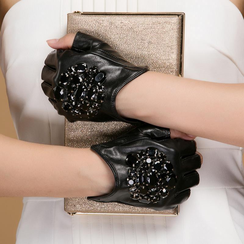 NH Kış Gerçek Deri Eldiven Kadınlar Moda Marka Yüksek Kalite Orijinal Siyah keçi postu Taş Parmaksız Eldiven High Street Mitten