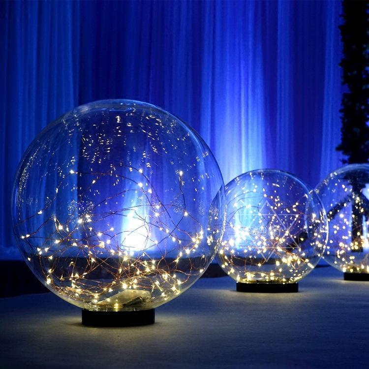 colgando camino estrellado fantasía Nueva LED conducen acrílico transparente cable de cobre bola luminosa apoyos de bolas boda estrella de la bola decorativa plomo carretera