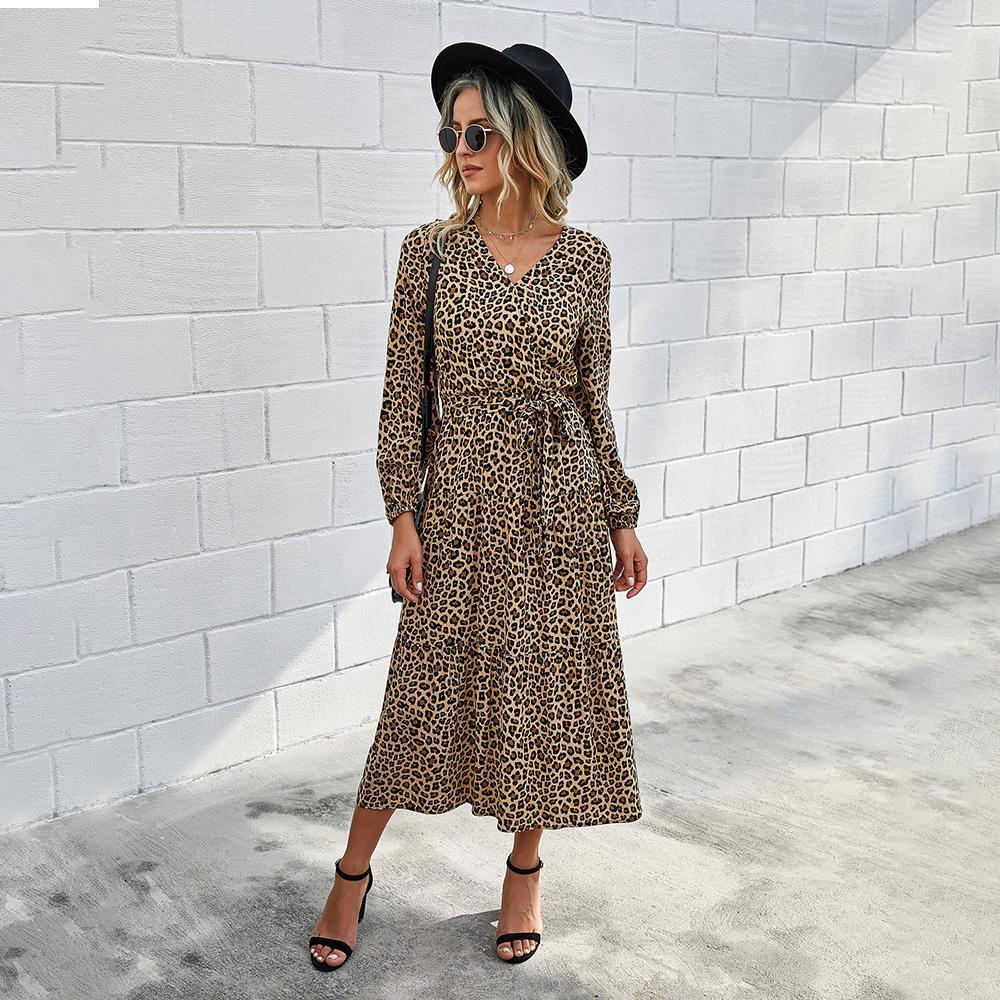 De las mujeres vestidos de estampado leopardo cuello en V manga farol otoño vendaje del abrigo de cintura alta bohemio retro bata impresión floral de señora Party de los vestidos de Midi