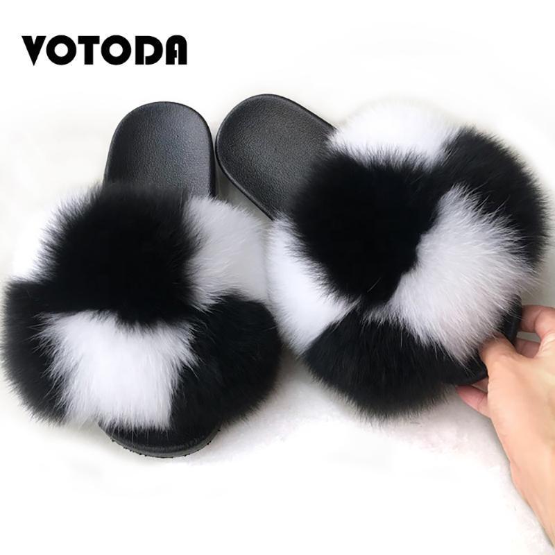 VOTODA Fluffy fourrure Pantoufles femmes fourrure Tongs plat Furry réel Barrettes Sandales d'été avec le luxe femme Furry Chaussures