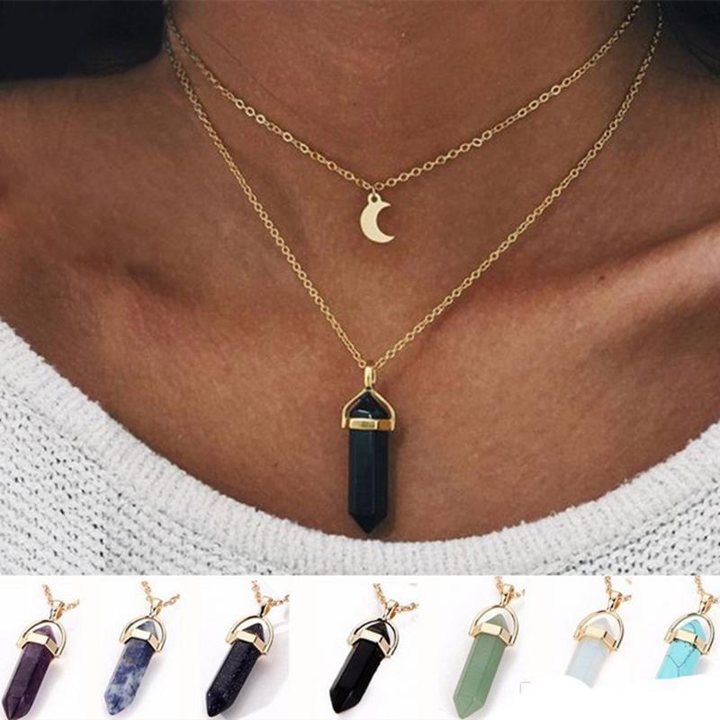 Natural Stones luna collana doppio strato Pendenti catene d'oro collegamento Crystal quarzo delle donne del proiettile gioielli esagonale Prism Point Healing Charm