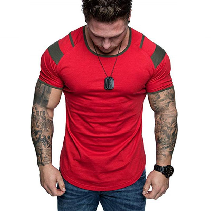 Neuer Sommer-Splicing Kurzarm Baumwolle T-Shirt Mann-beiläufig O-Ansatz Hip Hop-T-Shirt Top Männer lose dünne Tees Tops US-Größe M-3XL