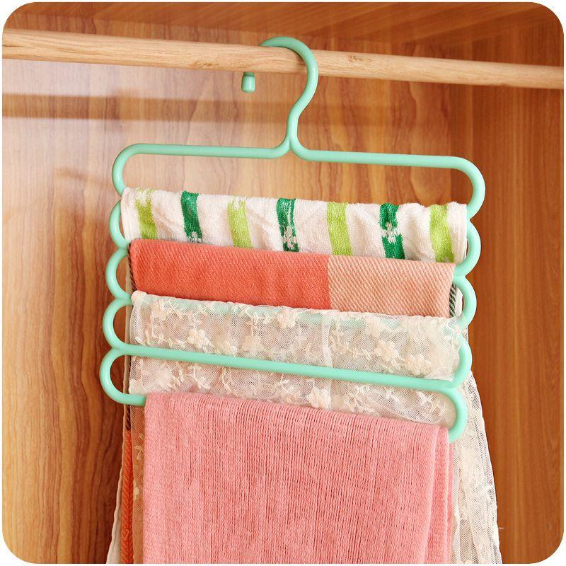 Pants Hangers Holders Multifunction Trousers Hanger Tie Scarfs Belt Towel Non-slip Magic Hanger Storage Rack clothes hanger 1PC