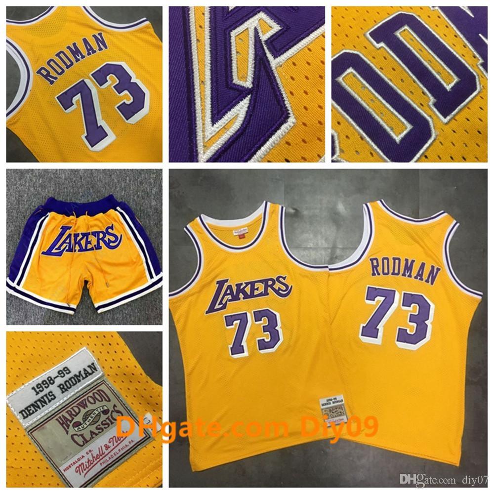 Mitchell & Ness 73 Dennis Rodman Los AngelesLakersThrowback Jersey Rodmannba Yellow HardwoodClassics Basketball Shorts