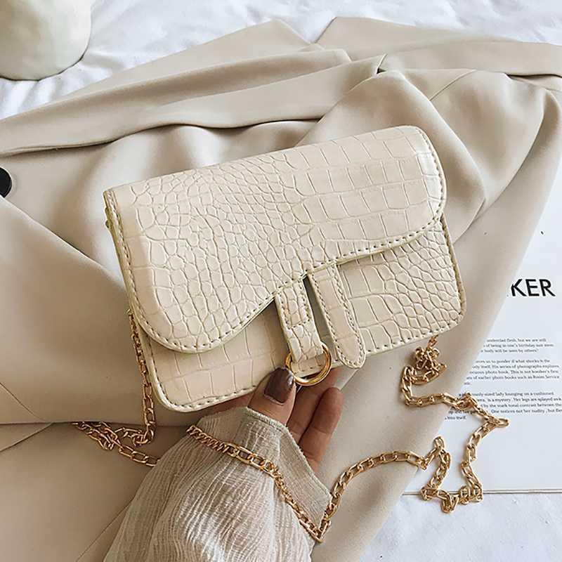 Cadena de cuero Hombro Mini bolsos 2020 bolsas Flap para mujer Cocodrilo Crossbody Color Pattern PU Bag Solid Female QQJMK