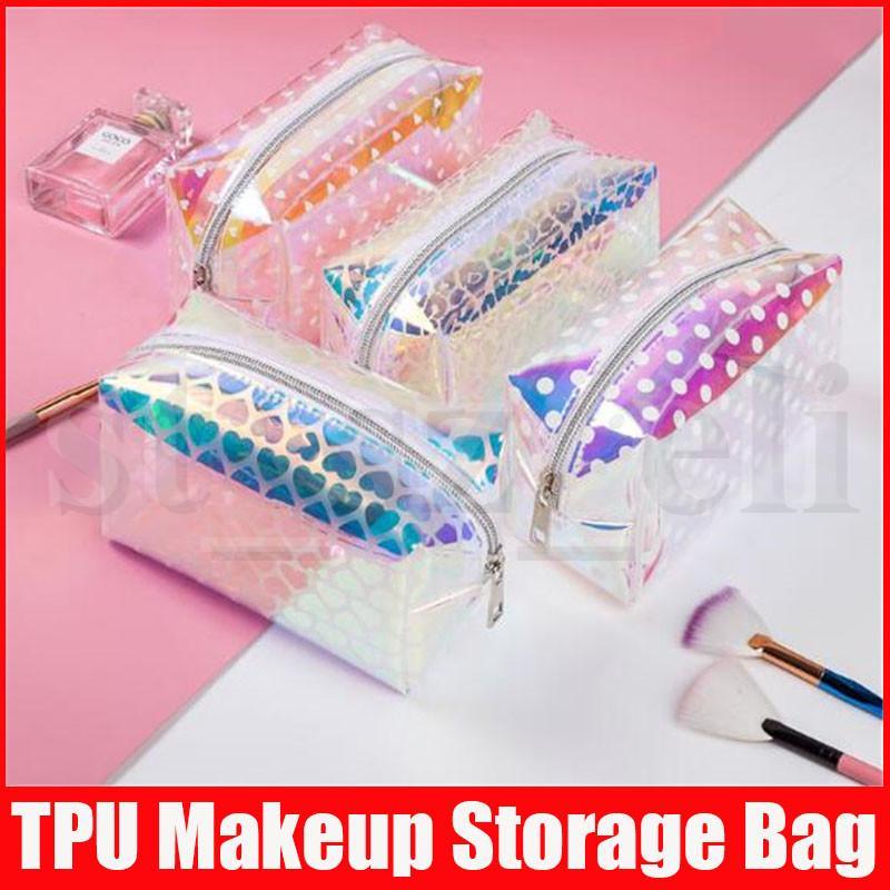 Laser Moda Cosmetic Bag por Mulheres Maquiagem TPU Transparente Beleza Organizador Pouch Feminino geléia Bolsas Lady Make Up Pacote
